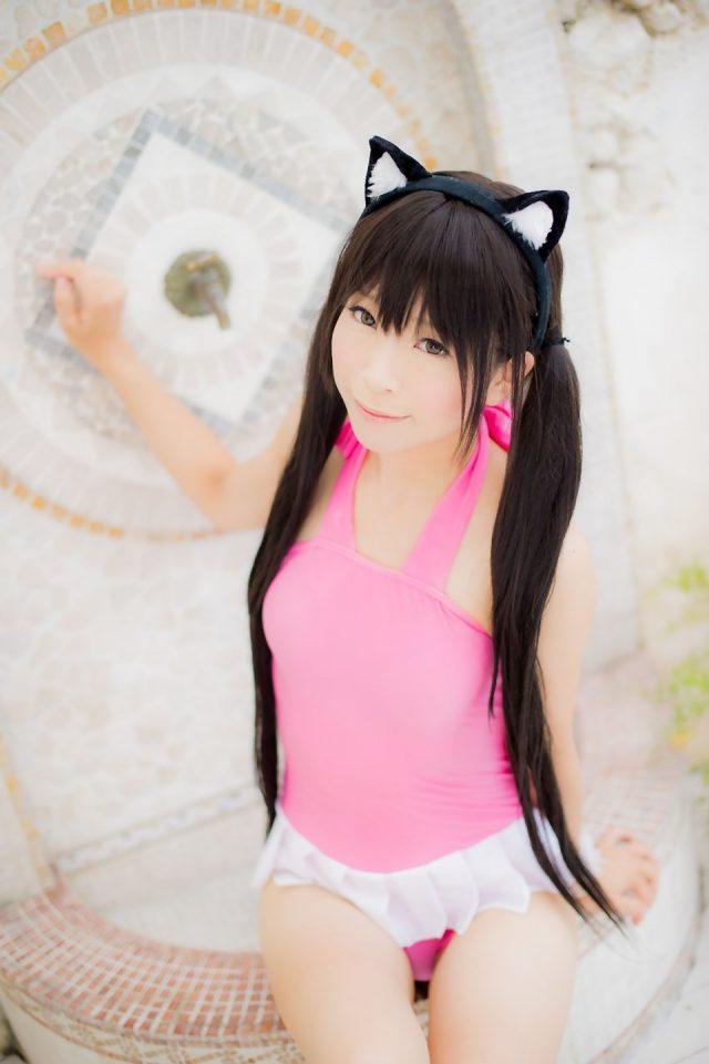 コスプレイヤー 真白ゆき 猫耳にピンクのスク水がエロい 『けいおん!』 中野梓のコスプレ画像