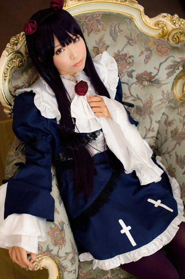 コスプレイヤー 真白ゆき 食い込みパンチラや手ブラがエロい 『俺の妹がこんなに可愛いわけがない』 黒猫(五更瑠璃)のメイド服コスプレ画像