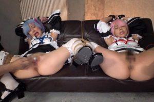 緊縛された美少女メイドが丸出しのマンコとアナルを甚振られる動画 画像